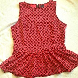 Sz L large peplum top cute zipper detail